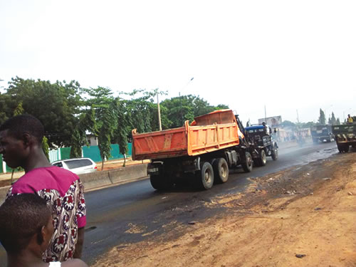Scene of the tipper accident
