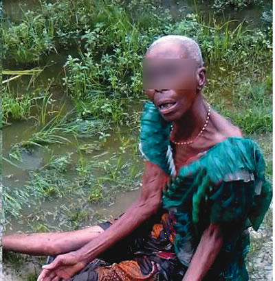 An old woman attacked by youths after being branded a witch